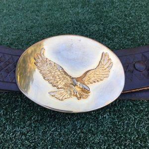 Vintage Brass Eagle Buckle Tooled Leather Belt
